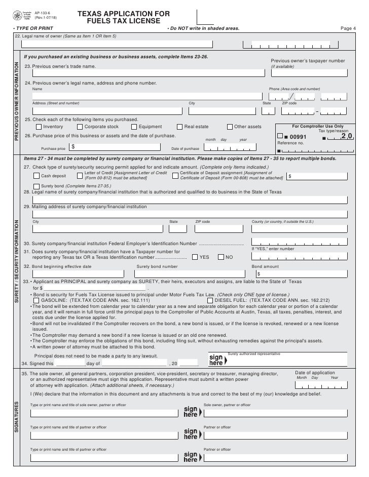 Texas Motor Fuels, Interstate Trucker, and IFTA Forms-AP-133 Texas Ap…