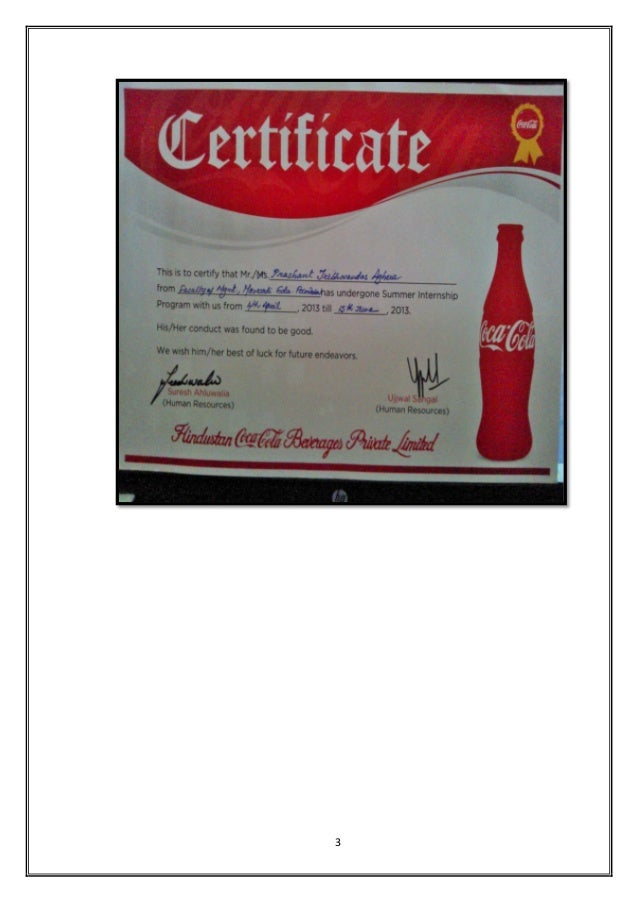 summer training report on processing hindustan coca cola beverages private limited 61 strategic functioning of multinationals (the coca cola  in aviva life insurance company india private limited,  summer training report on.