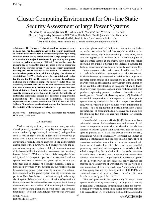 Full Paper ACEEE Int. J. on Electrical and Power Engineering , Vol. 4, No. 2, Aug 2013  Cluster Computing Environment for ...