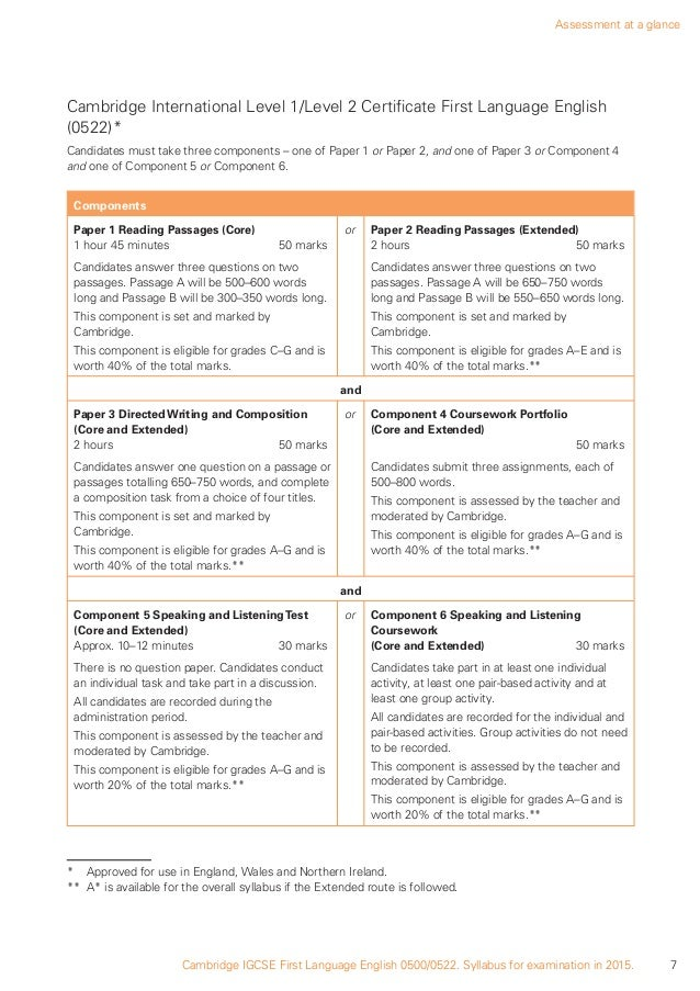 cambridge 0522 coursework mark scheme