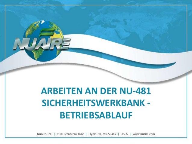 ARBEITEN AN DER NU-481 SICHERHEITSWERKBANK BETRIEBSABLAUF NuAire, Inc. | 2100 Fernbrook Lane | Plymouth, MN 55447 | U.S.A....