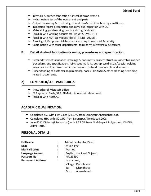 Mehul patel resume resume fill blanks free template