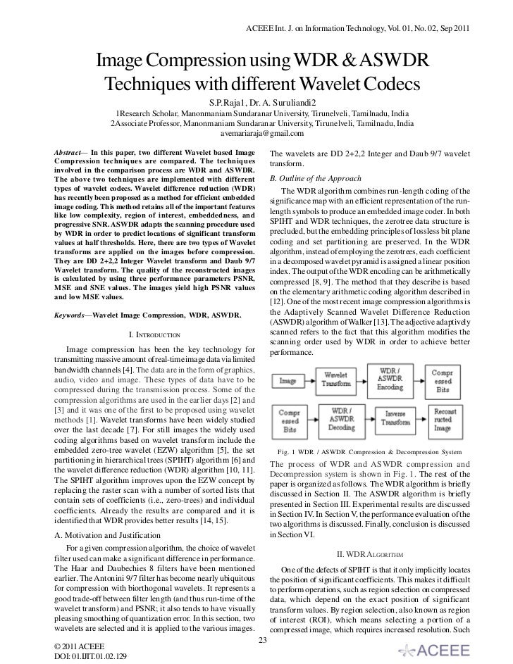 ACEEE Int. J. on Information Technology, Vol. 01, No. 02, Sep 2011            Image Compression using WDR & ASWDR         ...
