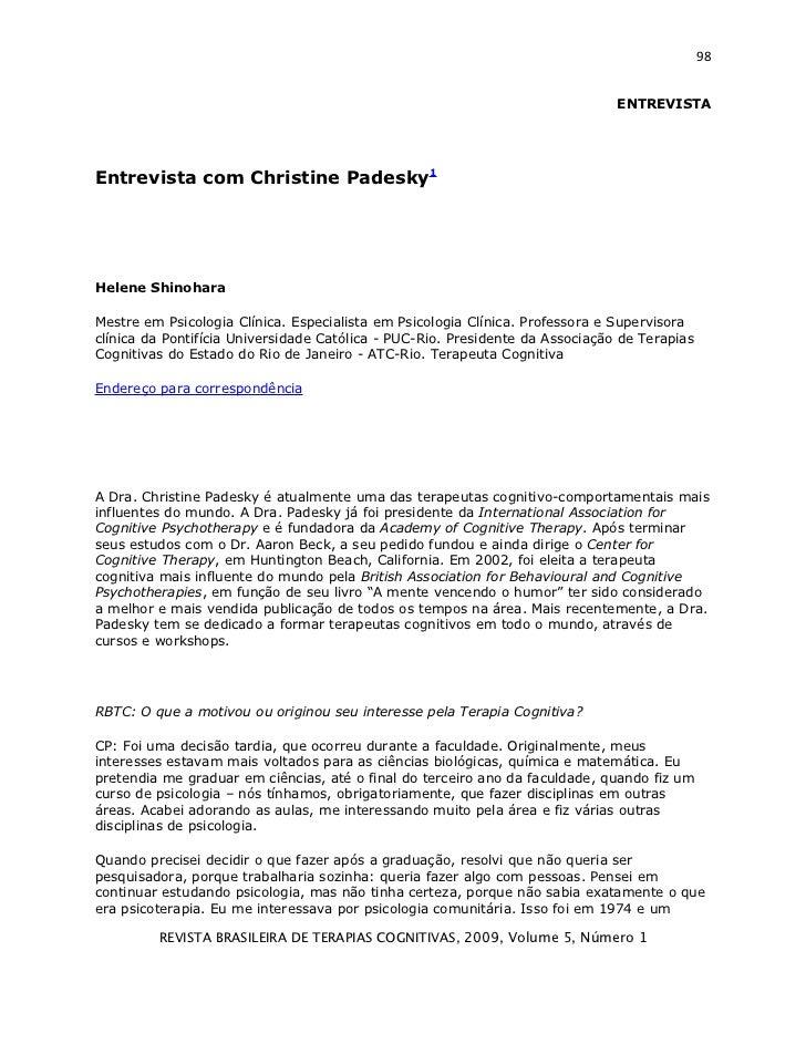 98                                                                               ENTREVISTAEntrevista com Christine Padesk...