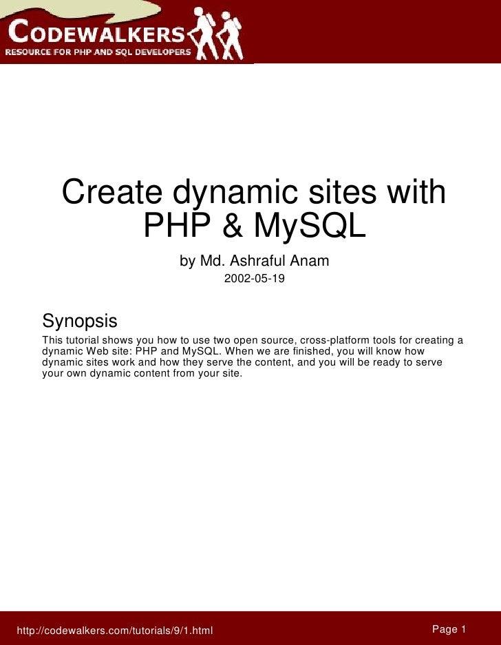 Create dynamic sites with               PHP & MySQL                                   by Md. Ashraful Anam                ...