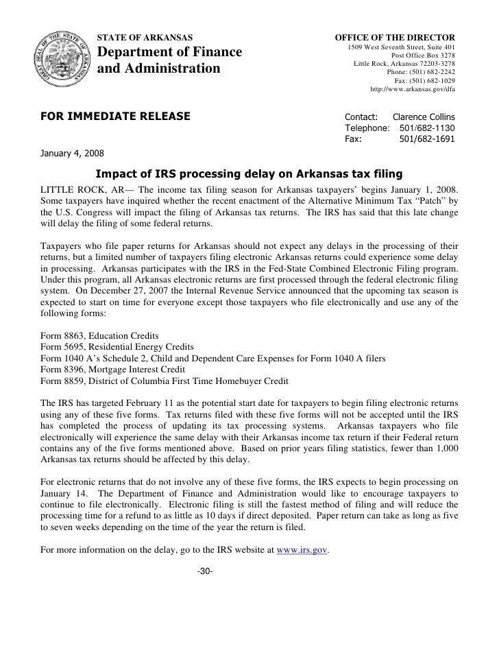 Impact Of Irs Processing Delay On Arkansas Tax Filing