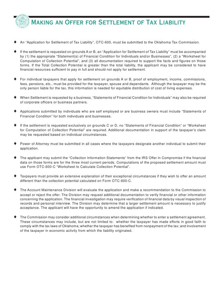 Application for Settlement of Tax Liability – Equitable Distribution Worksheet