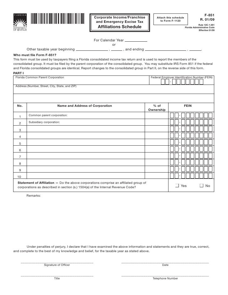 Federal Form 851 Erkalnathandedecker