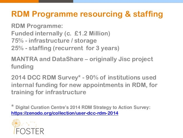 RDM Programme: Funded internally (c. £1.2 Million) 75% - infrastructure / storage 25% - staffing (recurrent for 3 years) M...