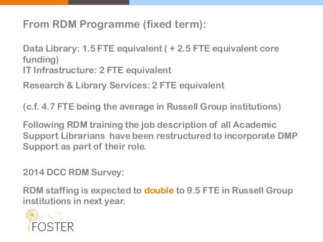 From RDM Programme (fixed term): Data Library: 1.5 FTE equivalent ( + 2.5 FTE equivalent core funding) IT Infrastructure: ...