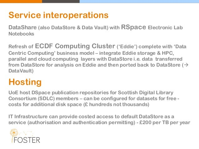 Service interoperations DataShare (also DataStore & Data Vault) with RSpace Electronic Lab Notebooks Refresh of ECDF Compu...