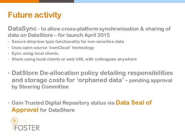 Future activity DataSync - to allow cross-platform synchronisation & sharing of data on DataStore – for launch April 2015 ...