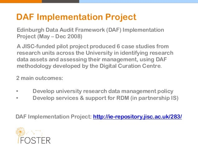 A JISC-funded pilot project produced 6 case studies from research units across the University in identifying research data...