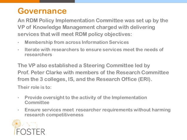 An RDM Policy Implementation Committee was set up by the VP of Knowledge Management charged with delivering services that ...