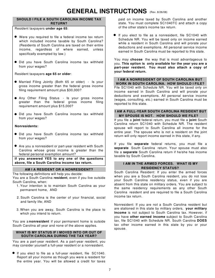 General Instructions Resident Nonresident Part Year Resident