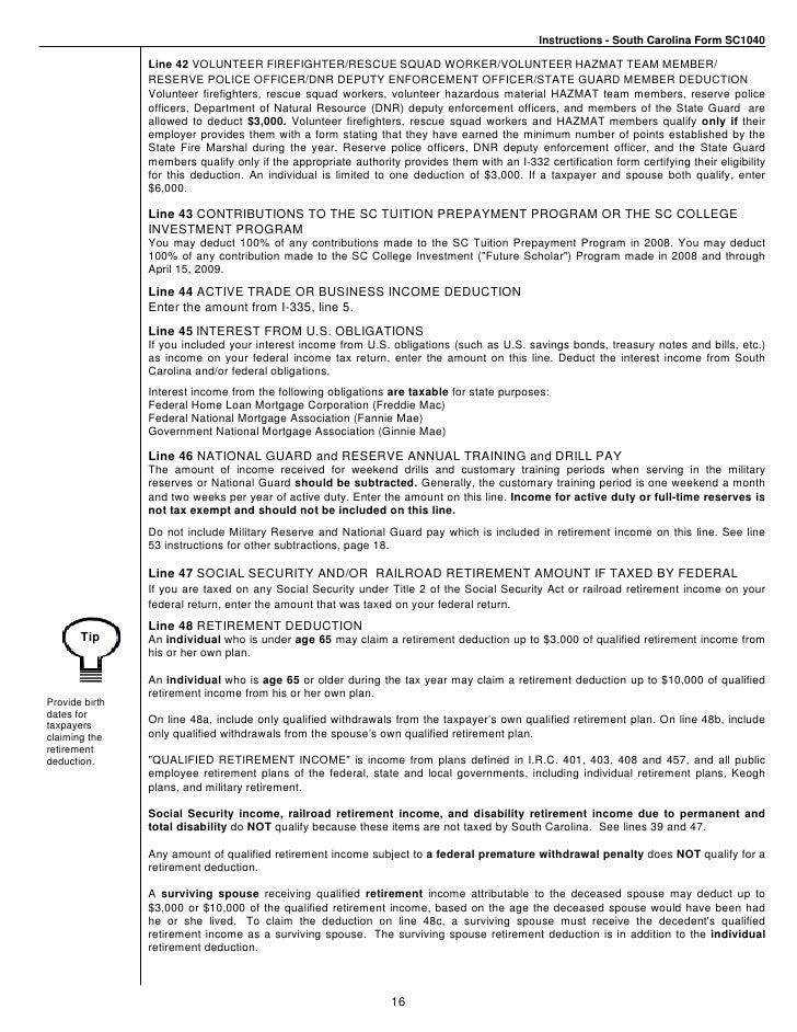 SC1040 Long Form Instructions