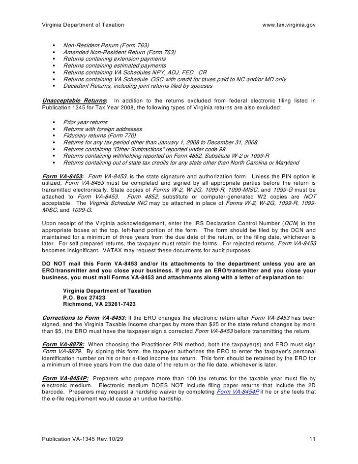 Handbook for Electronic Filers VA-1345