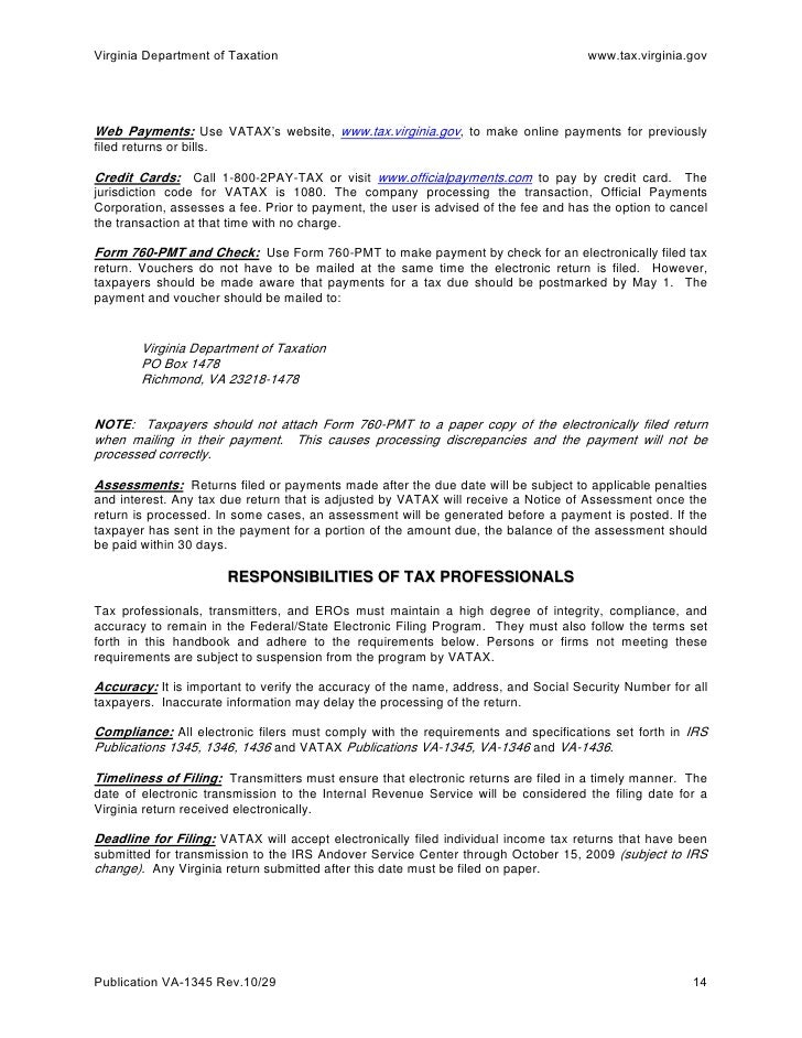 Handbook For Electronic Filers Va 1345