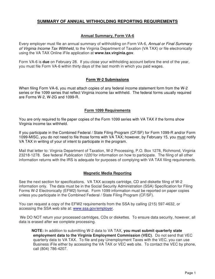 W2 Magnetic Media Filing Instructions
