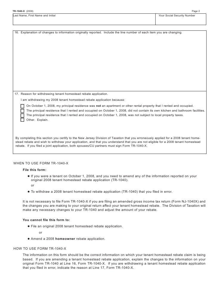 Amended Resident Return Form And Instructions
