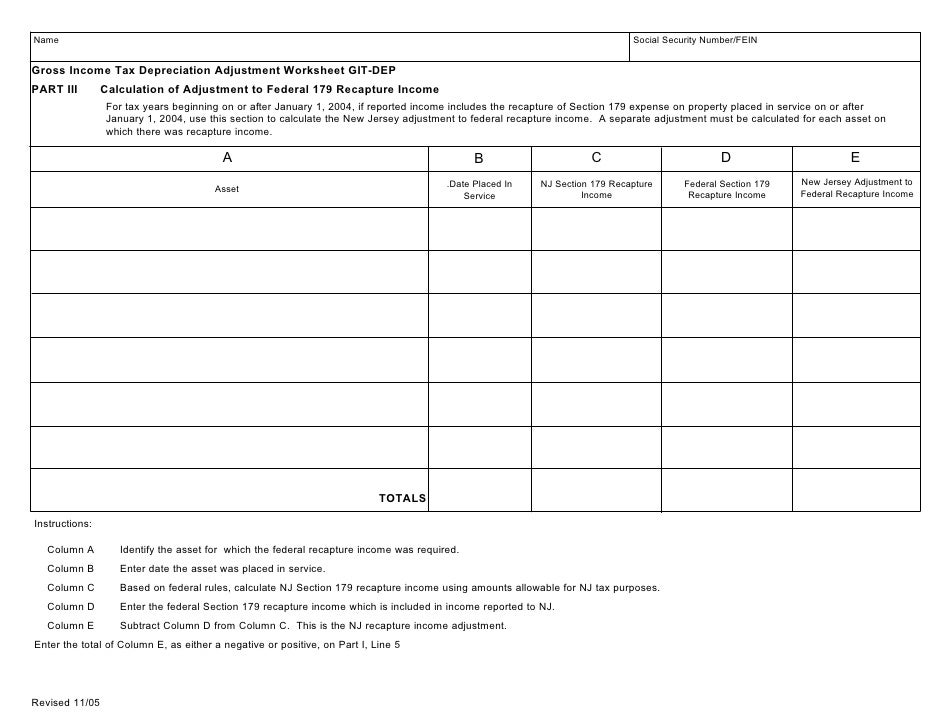 Gross Income Tax Depreciation Adjustment Worksheet Updated 112905 – Deductions and Adjustments Worksheet