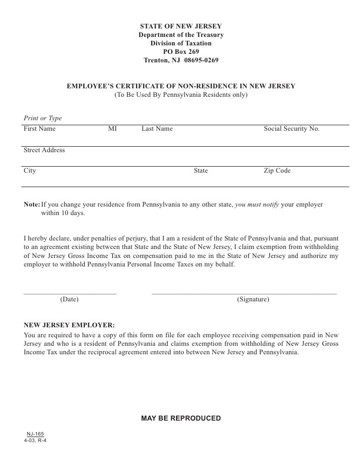 Employees Certificate Of Non Residence In New Jersey To Be Used B
