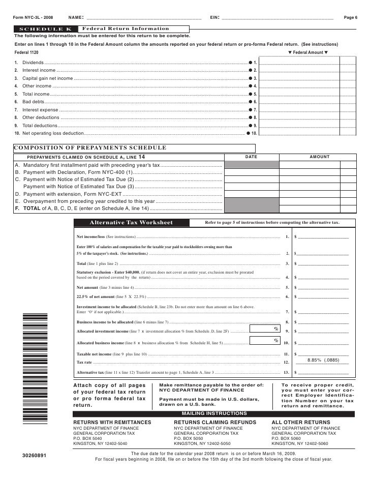 Corporation Tax Return General Corporation Tax Return Nyc