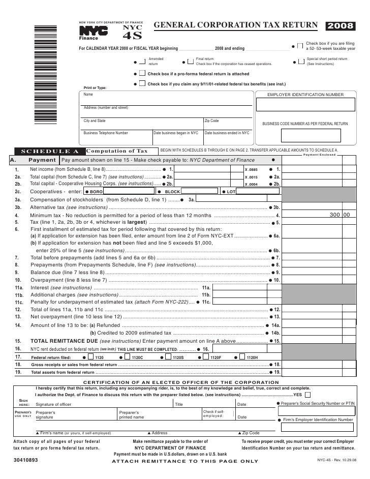 nyc-4s ez general corporation tax return