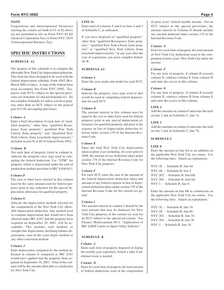 NYC 399Z Depreciation Adjustments For Certain Post 9 10 01