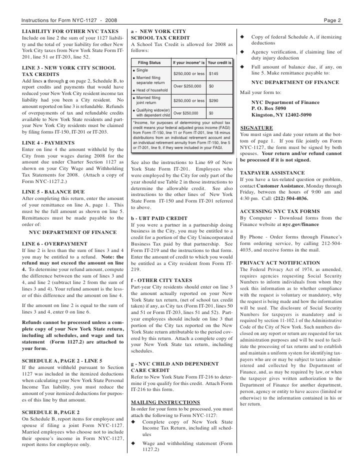 NYC-1127 Form for Nonresident Employees of the City of New