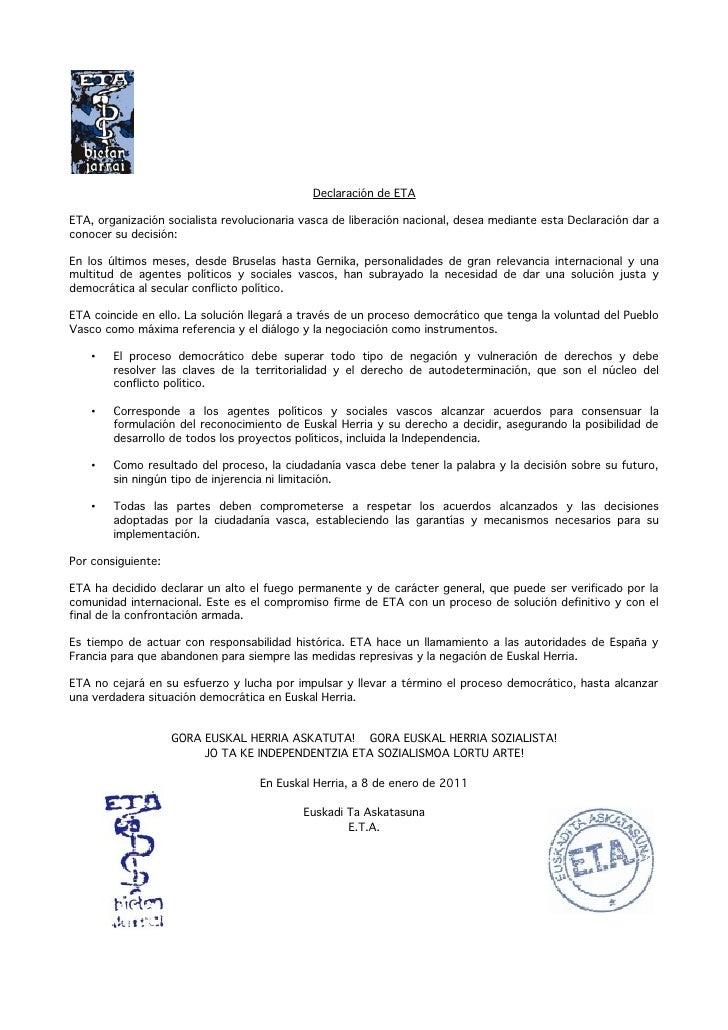 Declaración de ETA  ETA, organización socialista revolucionaria vasca de liberación nacional, desea mediante esta Declarac...
