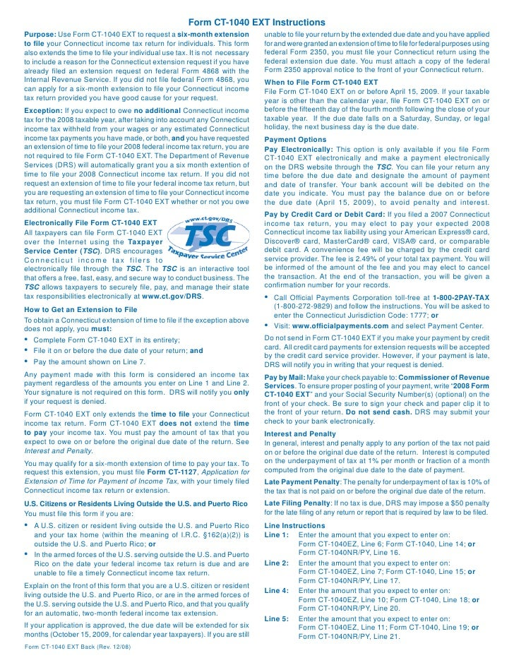 Ct 1040extgovdrslib Drs Forms 2008forms Incometax