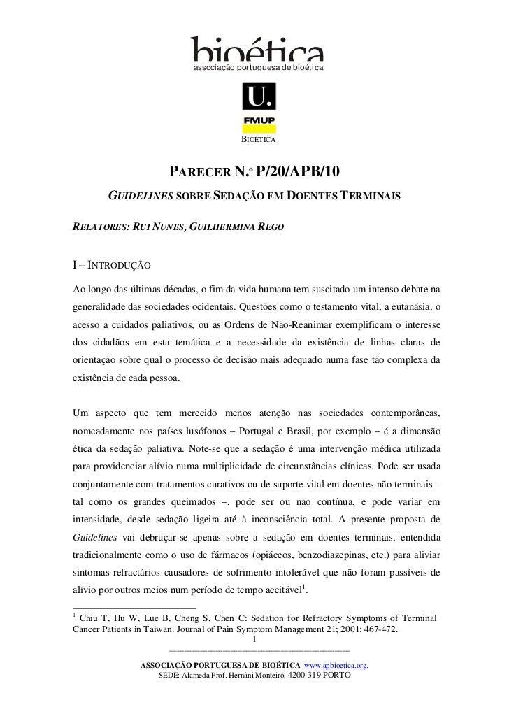 associação por tuguesa de bioética                                         BIOÉTICA                       PARECER N.º P/20...