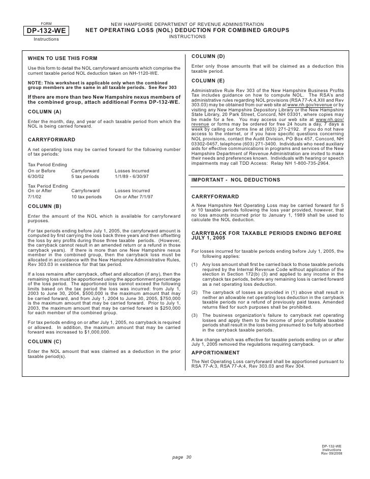 Combined Group Net Operating Loss NOL Deduction Form – Net Operating Loss Worksheet