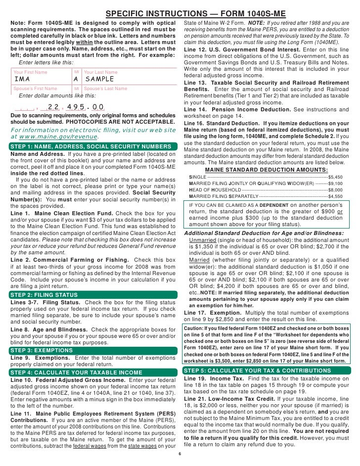 1040s Me Resident Short Form Booklet Forms Amp Instructions