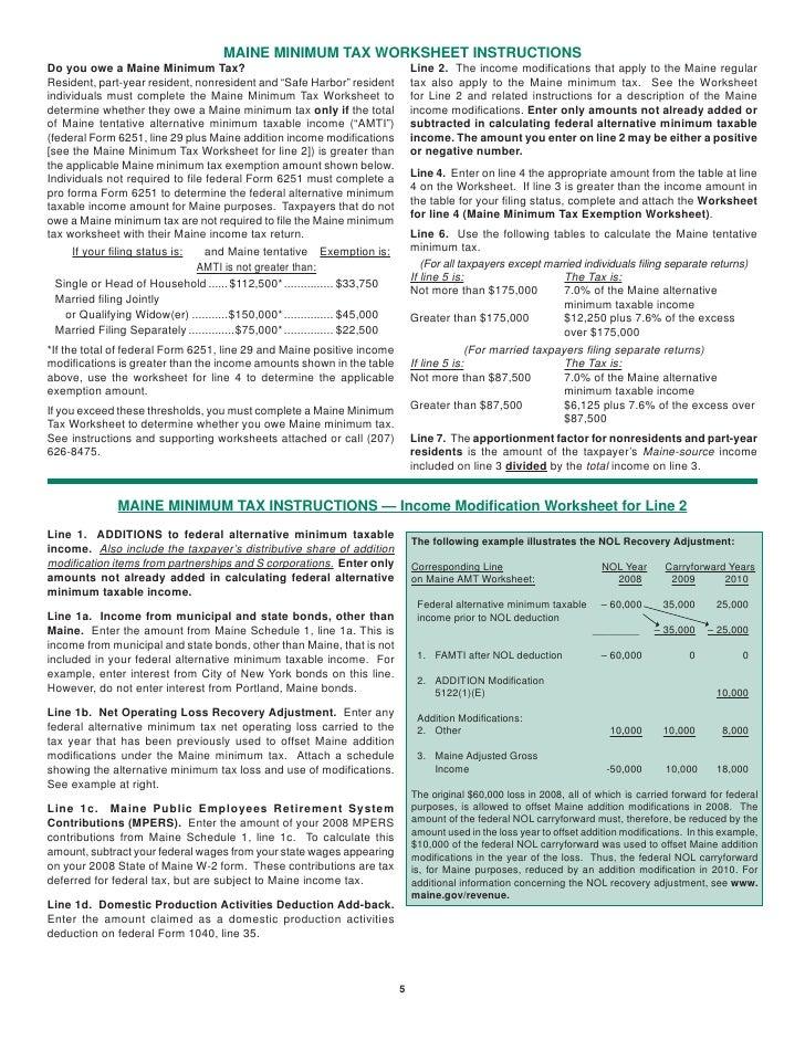 Minimum Tax worksheet – Alternative Minimum Tax Worksheet