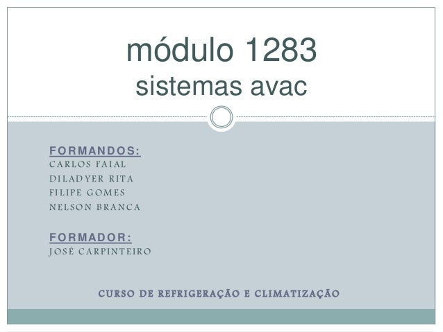 módulo 1283  sistemas avac  FORMANDOS:  C A R LOS F A I A L  DI L ADY E R R I T A  F I L I P E GOME S  NE L SON B R ANC A ...