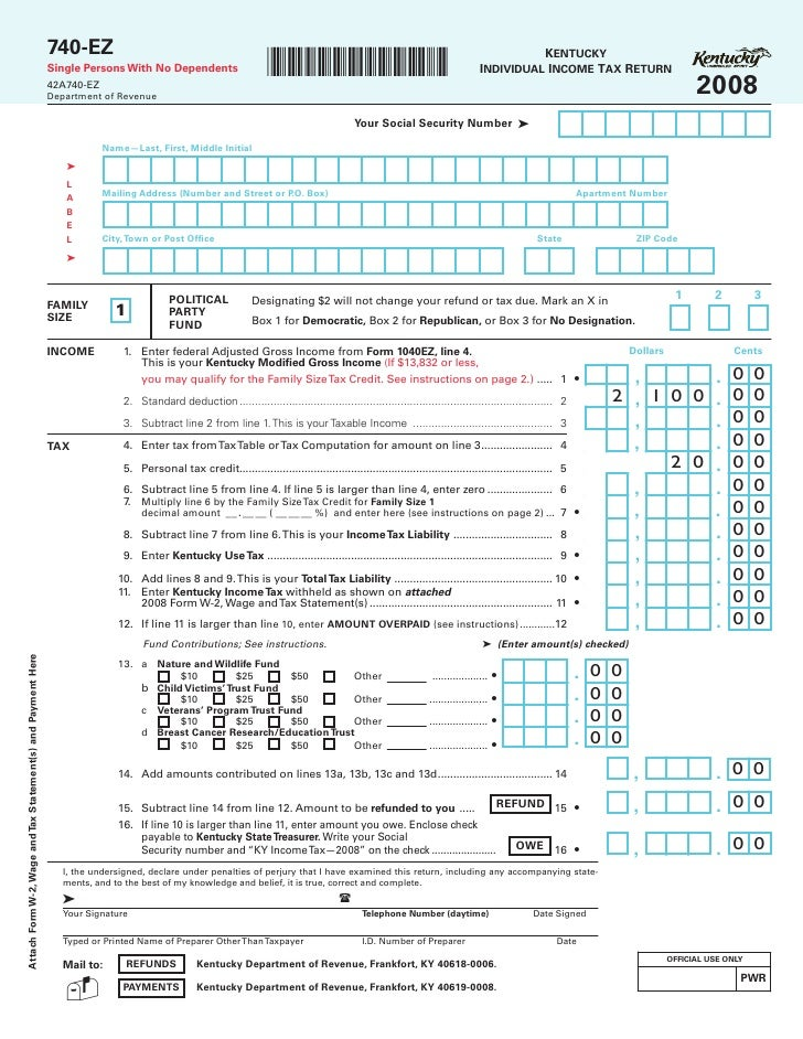 740-EZ - 2008 Kentucky Individual Income Tax Return - Form