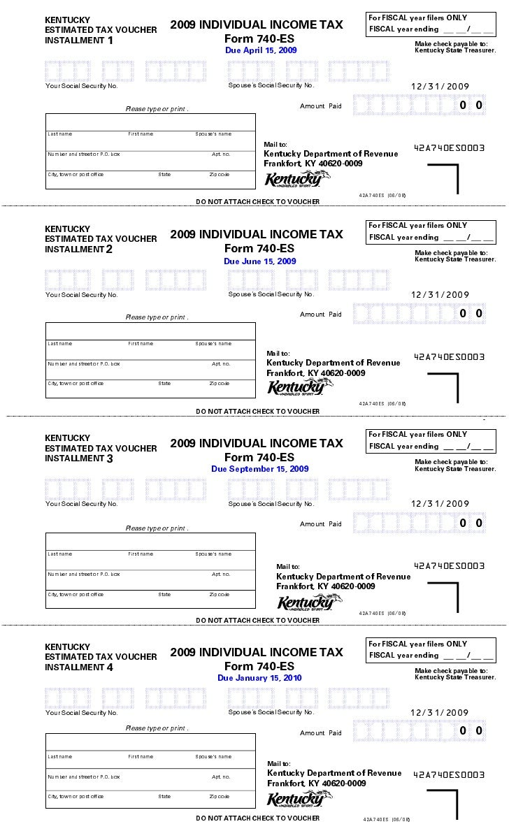For FISCAL year filers ONLY KENTUCKY                                           2009 INDIVIDUAL INCOME TAX ESTIMATED TAX VO...