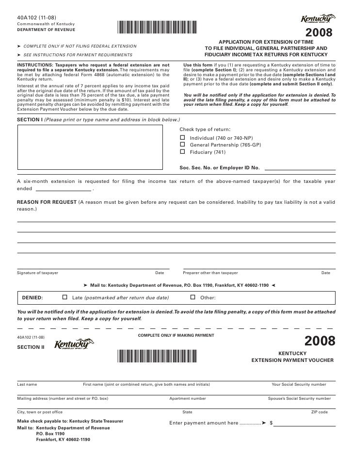 Application for Extension of Time to File Individual, General Partner…