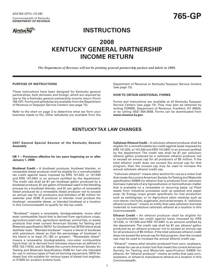 765 Gp Instructions Kentucky General Partnership Income Return