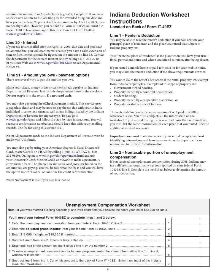 2008 IT40EZ Income Tax Booklet with Form and Schedule – 1040ez Worksheet