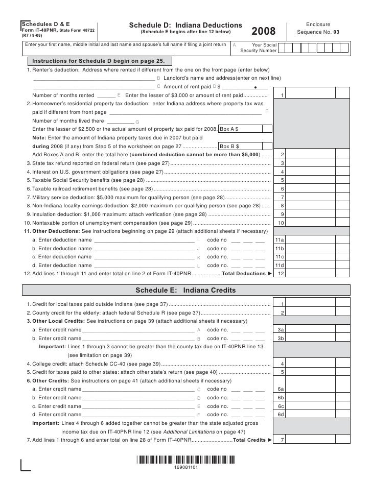 Schedules D & E for the IT-40PNR: Indiana Deductions & Credits