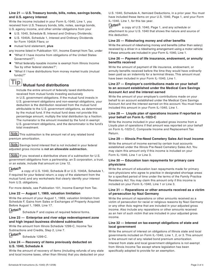 Illinois Il 1040 Instructions Images Instructions Examples In English