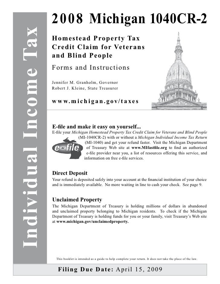 Homestead Property Tax Credit Claim for Veterans and Blind People Ins…