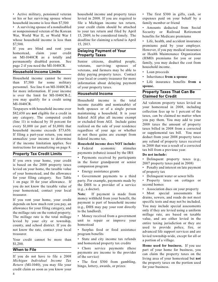2009 michigan 1040 instructions