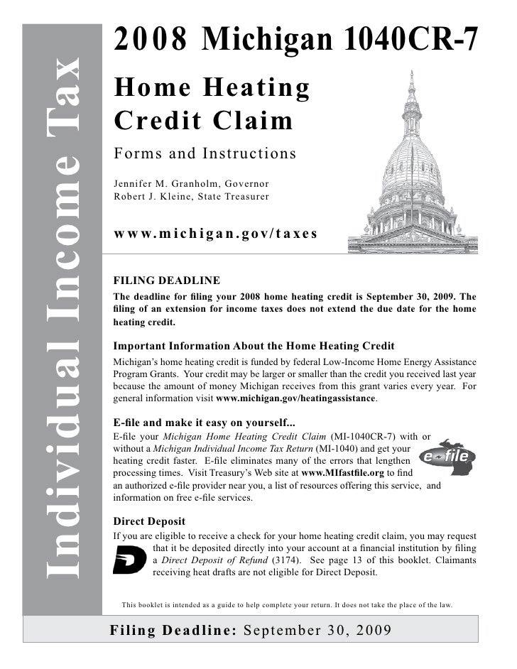 Home Heating Credit Claim Instruction Book