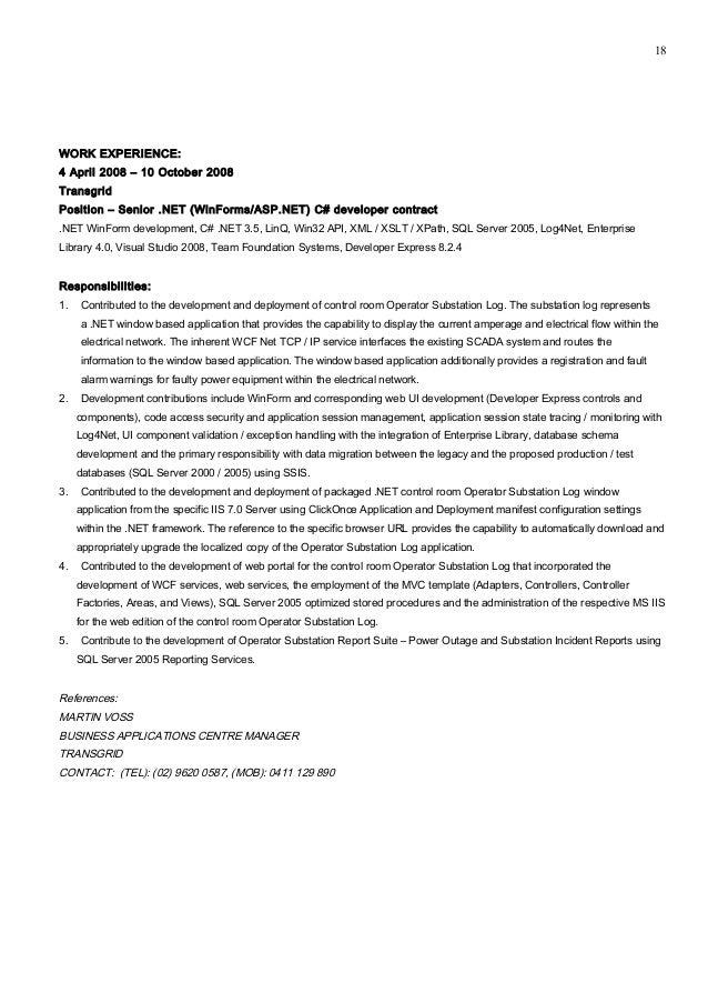 C Winforms Developer Resume