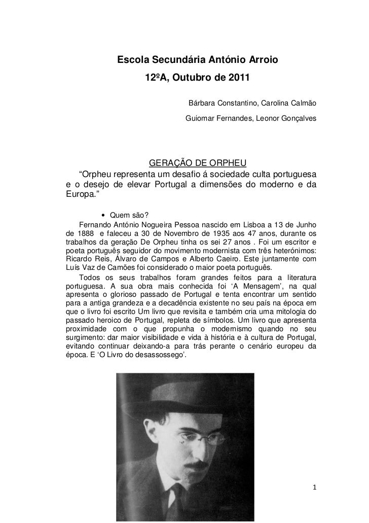 Escola Secundária António Arroio                        12ºA, Outubro de 2011                                     Bárbara ...