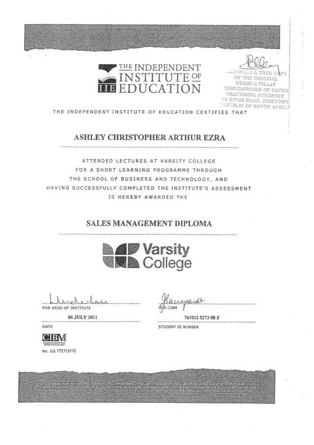 varsity college diploma
